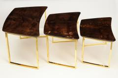 Aldo Tura SET OF THREE NESTING TABLES WITH ALDO TURA LACQUERED PARCHMENT TOPS - 1699956