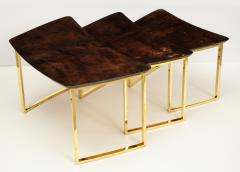 Aldo Tura SET OF THREE NESTING TABLES WITH ALDO TURA LACQUERED PARCHMENT TOPS - 1699958