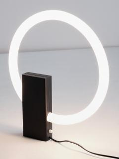 Aldo van den Nieuwelaar Minimalist Circular Tube Table Lamp with Black Steel Base Netherlands 1970s - 1882000