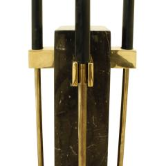 Alessandro Albrizzi Albrizzi Chic Fireplace Tool Set with Figured Black Marble and Brass 1970s - 785812