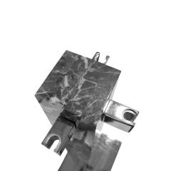 Alessandro Albrizzi Albrizzi Fireplace Tool Set In Figured Gray Marble And Chrome 1970s - 1484943