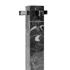 Alessandro Albrizzi Albrizzi Fireplace Tool Set In Figured Gray Marble And Chrome 1970s - 1484945