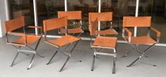 Alessandro Albrizzi Alessandro Albrizzi Nickel and Double Stitched Saddle Leather 6 Dining Chairs - 1308258