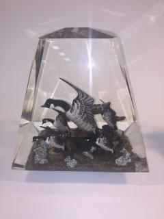 Alessandro Albrizzi Modern Trio of High End Solid Lucite Obelisks With Diorama of Wildlife Scenes - 540238