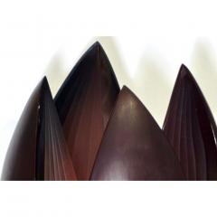 Alessandro Barbaro A Barbaro Abstract Flower Sculpture in a Dark Plum Murano Glass on Slate Base - 1315989
