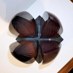 Alessandro Barbaro A Barbaro Abstract Flower Sculpture in a Dark Plum Murano Glass on Slate Base - 1315992