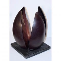 Alessandro Barbaro A Barbaro Abstract Flower Sculpture in a Dark Plum Murano Glass on Slate Base - 1315993