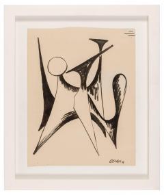 Alexander Calder Alexander Calder Signed Dated India Ink on Paper Stabile Drawing USA 1946 - 646068