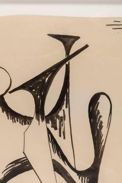 Alexander Calder Alexander Calder Signed Dated India Ink on Paper Stabile Drawing USA 1946 - 646071