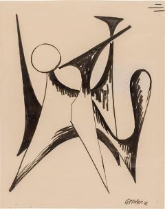 Alexander Calder Alexander Calder Signed Dated India Ink on Paper Stabile Drawing USA 1946 - 646277