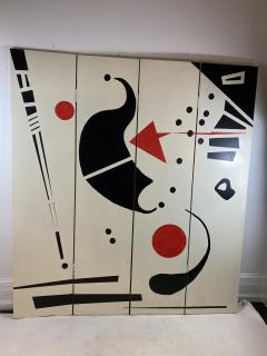 Alexander Calder CALDERESQUE HAND PAINTED WOOD FOUR PANEL STANDING SCREEN - 1198591