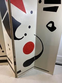 Alexander Calder CALDERESQUE HAND PAINTED WOOD FOUR PANEL STANDING SCREEN - 1198598