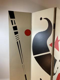 Alexander Calder CALDERESQUE HAND PAINTED WOOD FOUR PANEL STANDING SCREEN - 1198599