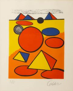 Alexander Calder Red and Yellow Geometric Lithograph Print by Alexander Calder signed - 1919734