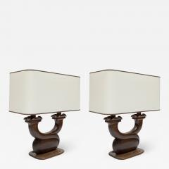 Alexandre Noll Pair of 1950s Rosewood table lamps in the style of Alexandre Noll - 1722363