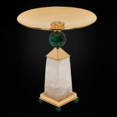 Alexandre Vossion PAIR OF OBELISK ROCK CRYSTAL CHALICE 24K Gold plated brass and malachite details - 2097984