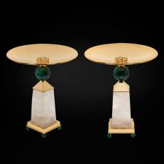 Alexandre Vossion PAIR OF OBELISK ROCK CRYSTAL CHALICE 24K Gold plated brass and malachite details - 2097985
