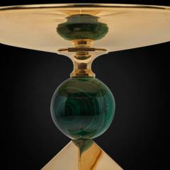 Alexandre Vossion PAIR OF OBELISK ROCK CRYSTAL CHALICE 24K Gold plated brass and malachite details - 2097988