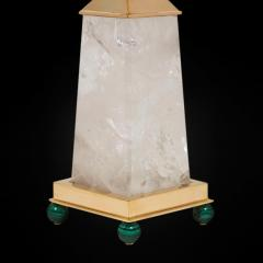 Alexandre Vossion PAIR OF OBELISK ROCK CRYSTAL CHALICE 24K Gold plated brass and malachite details - 2097989
