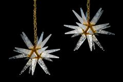 Alexandre Vossion PAIR OF ROCK CRYSTAL STAR III MODEL CHANDELIER GOLD EDITION - 772675