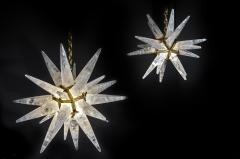 Alexandre Vossion PAIR OF ROCK CRYSTAL STAR III MODEL CHANDELIER GOLD EDITION - 772682
