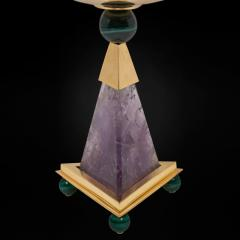 Alexandre Vossion PYRAMID AMETHYST CHALICES Pair of amethyst and 24K gold plated brass bowls - 2097972