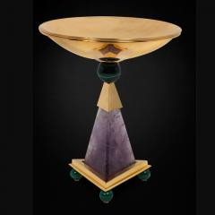 Alexandre Vossion PYRAMID AMETHYST CHALICES Pair of amethyst and 24K gold plated brass bowls - 2097973