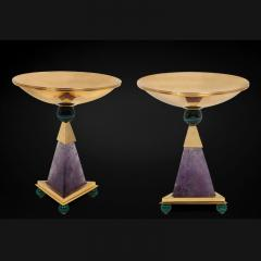 Alexandre Vossion PYRAMID AMETHYST CHALICES Pair of amethyst and 24K gold plated brass bowls - 2097976