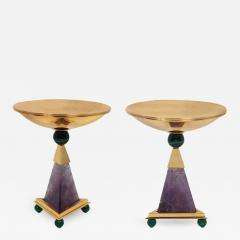 Alexandre Vossion PYRAMID AMETHYST CHALICES Pair of amethyst and 24K gold plated brass bowls - 2098883