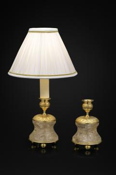 Alexandre Vossion Pair of Rock Crystal and Gilt Bronze Lamps Candlesticks First Empire Style  - 1015048