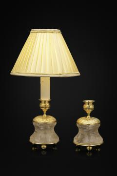 Alexandre Vossion Pair of Rock Crystal and Gilt Bronze Lamps Candlesticks First Empire Style  - 1015049