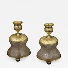 Alexandre Vossion Pair of Rock Crystal and Gilt Bronze Lamps Candlesticks First Empire Style  - 1016764