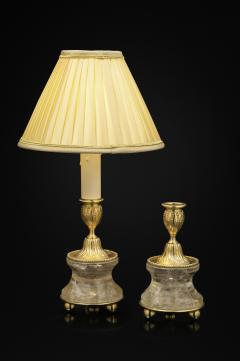Alexandre Vossion Pair of Rock Crystal and Gilt Bronze Lamps Candlesticks Louis XVI Style - 1015079