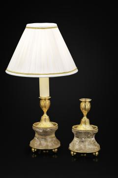 Alexandre Vossion Pair of Rock Crystal and Gilt Bronze Lamps Candlesticks Louis XVI Style - 1015081