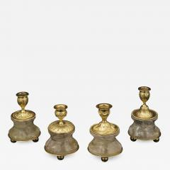Alexandre Vossion Pair of Rock Crystal and Gilt Bronze Lamps Candlesticks Louis XVI Style - 1016765