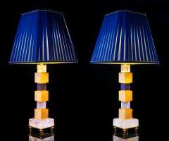 Alexandre Vossion Rock Crystal and Lapis Lazuli Art Deco Style Pair of Lamps - 995340