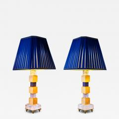 Alexandre Vossion Rock Crystal and Lapis Lazuli Art Deco Style Pair of Lamps - 998772