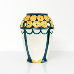 Alf Wallander PAIR OF ALF WALLANDER VASES WITH YELLOW FLOWERS ON BLUE Sweden Rorstrand - 1189724