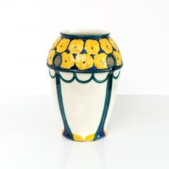 Alf Wallander PAIR OF ALF WALLANDER VASES WITH YELLOW FLOWERS ON BLUE Sweden Rorstrand - 1189725