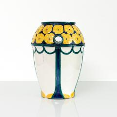 Alf Wallander PAIR OF ALF WALLANDER VASES WITH YELLOW FLOWERS ON BLUE Sweden Rorstrand - 1189726
