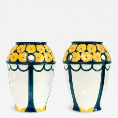 Alf Wallander PAIR OF ALF WALLANDER VASES WITH YELLOW FLOWERS ON BLUE Sweden Rorstrand - 1190005