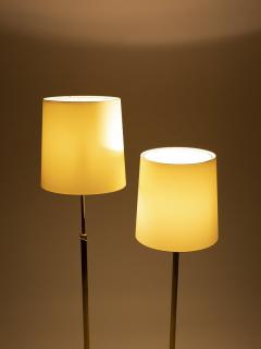 Alfred M ller Pair of Amba floor lamps with brass base new lampshade 40s - 1764022