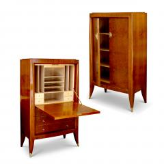 Alfred Porteneuve Secretaire and Cabinet Duo in Cherry and Burl by Alfred Porteneuve - 540389