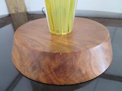 Alfredo Barbini Stunning Alfredo Barbini Yellow Ribbed Murano Glass Table Lamp Gold Flecks - 1708600