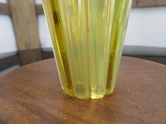 Alfredo Barbini Stunning Alfredo Barbini Yellow Ribbed Murano Glass Table Lamp Gold Flecks - 1708602