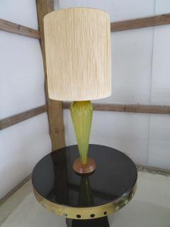 Alfredo Barbini Stunning Alfredo Barbini Yellow Ribbed Murano Glass Table Lamp Gold Flecks - 1708609