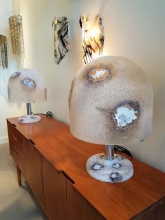 Alfredo Barbini Textured Murano Glass Mid Century Modern Table Lamps by Alfredo Barbini 1980s - 1137280
