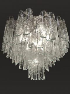 Alfredo Barbini Very Rare Pair of Large Barbini Textured Glass Chandeliers - 1378114