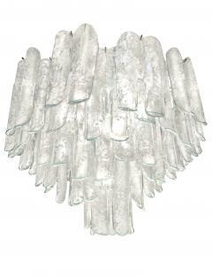Alfredo Barbini Very Rare Pair of Large Barbini Textured Glass Chandeliers - 1378122