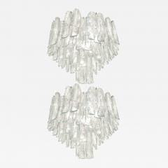Alfredo Barbini Very Rare Pair of Large Barbini Textured Glass Chandeliers - 1381951